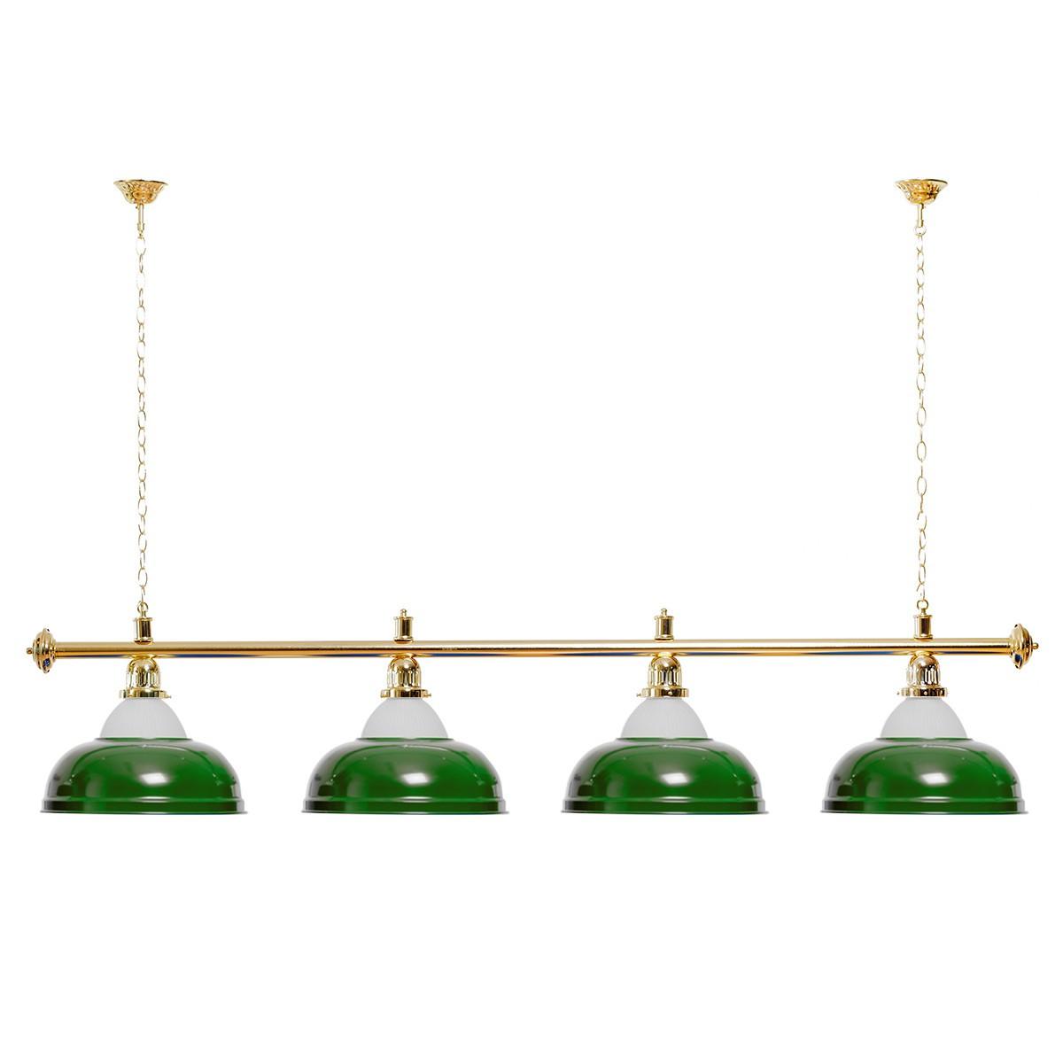 Billard Lampe 4 Schirme grün mit Glas / goldfarbene Halterung
