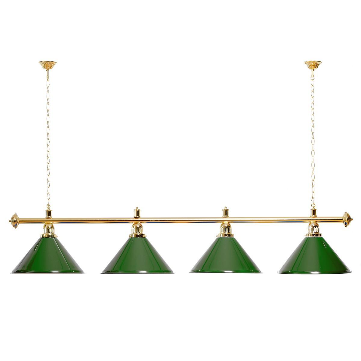 Billard Lampe 4 Schirme grün / goldfarbene Halterung