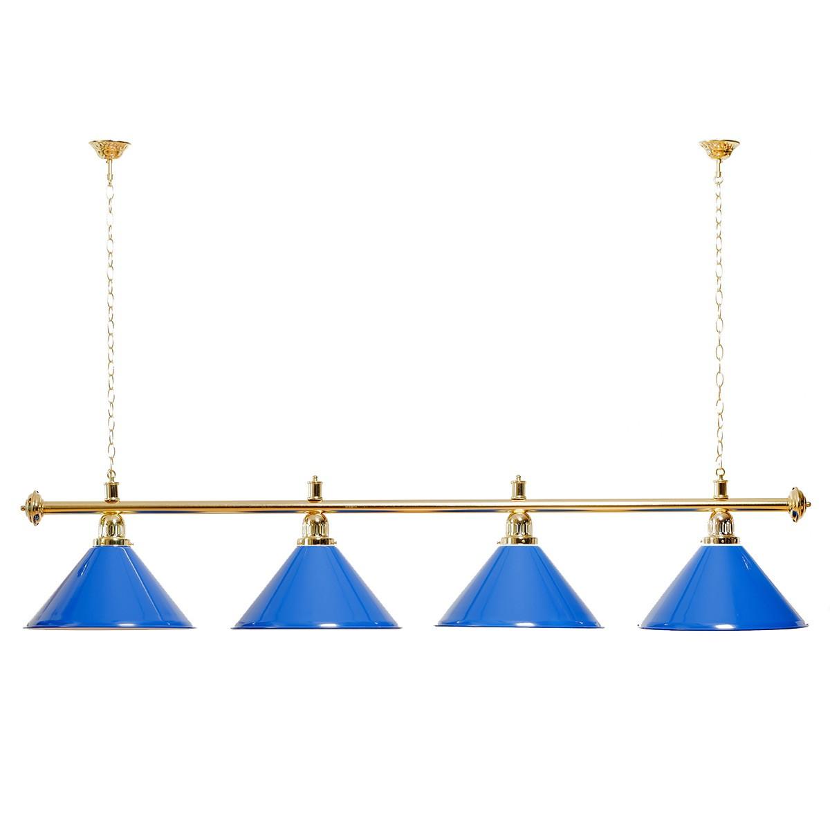 Billard Lampe 4 Schirme blau / goldfarbene Halterung