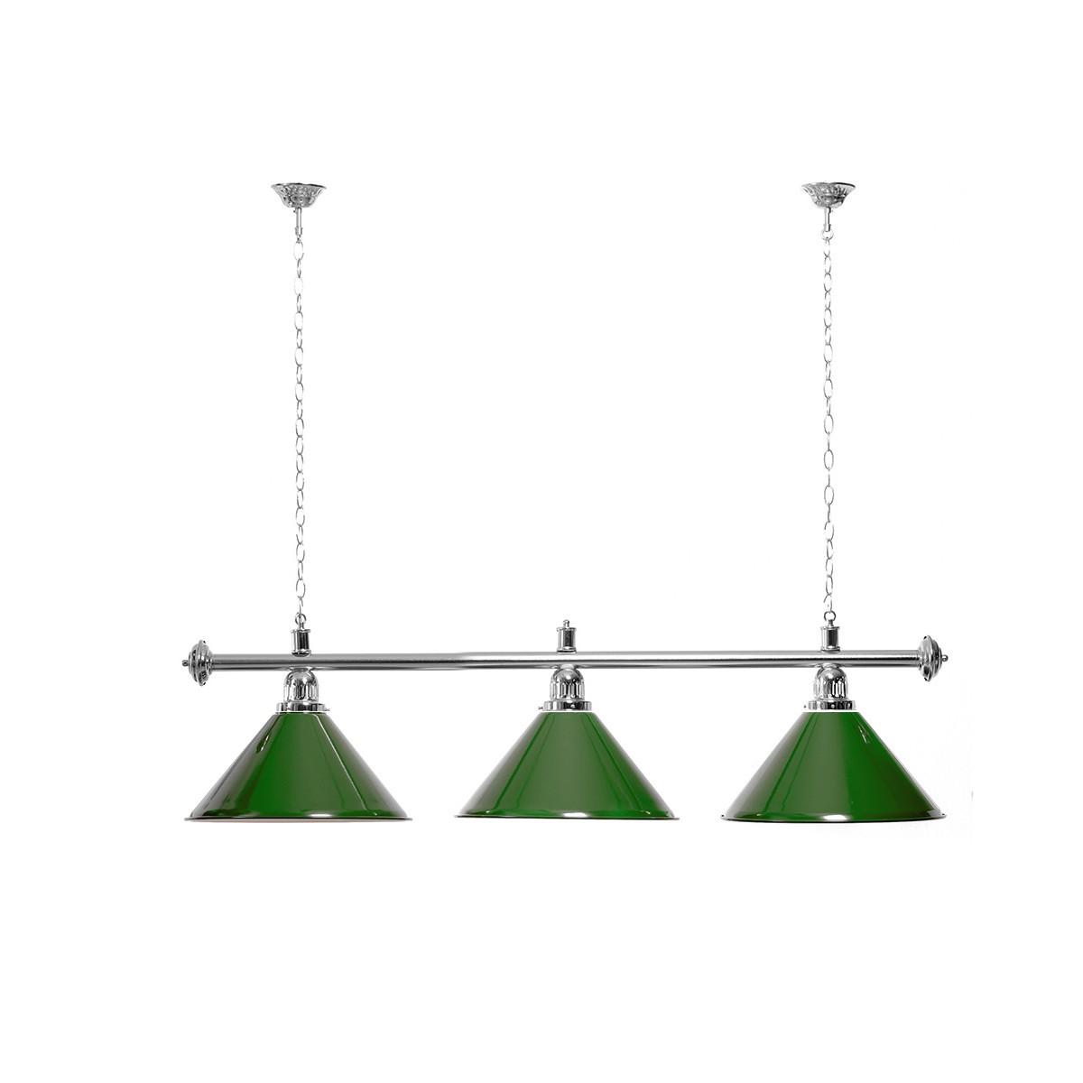 Billard Lampe 3 Schirme grün / silberfarbene Halterung