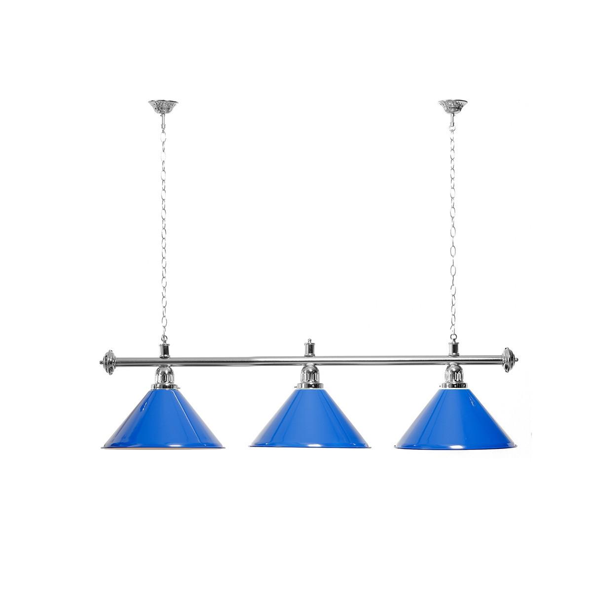 Billard Lampe 3 Schirme blau / silberfarbene Halterung