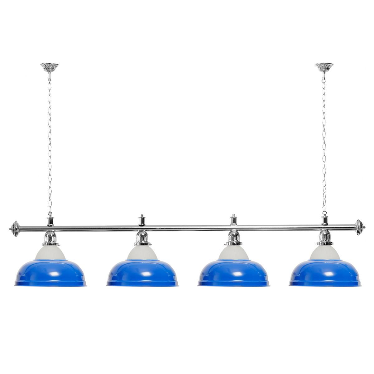 Billard Lampe 4 Schirme blau mit Glas / silberfarbene Halterung