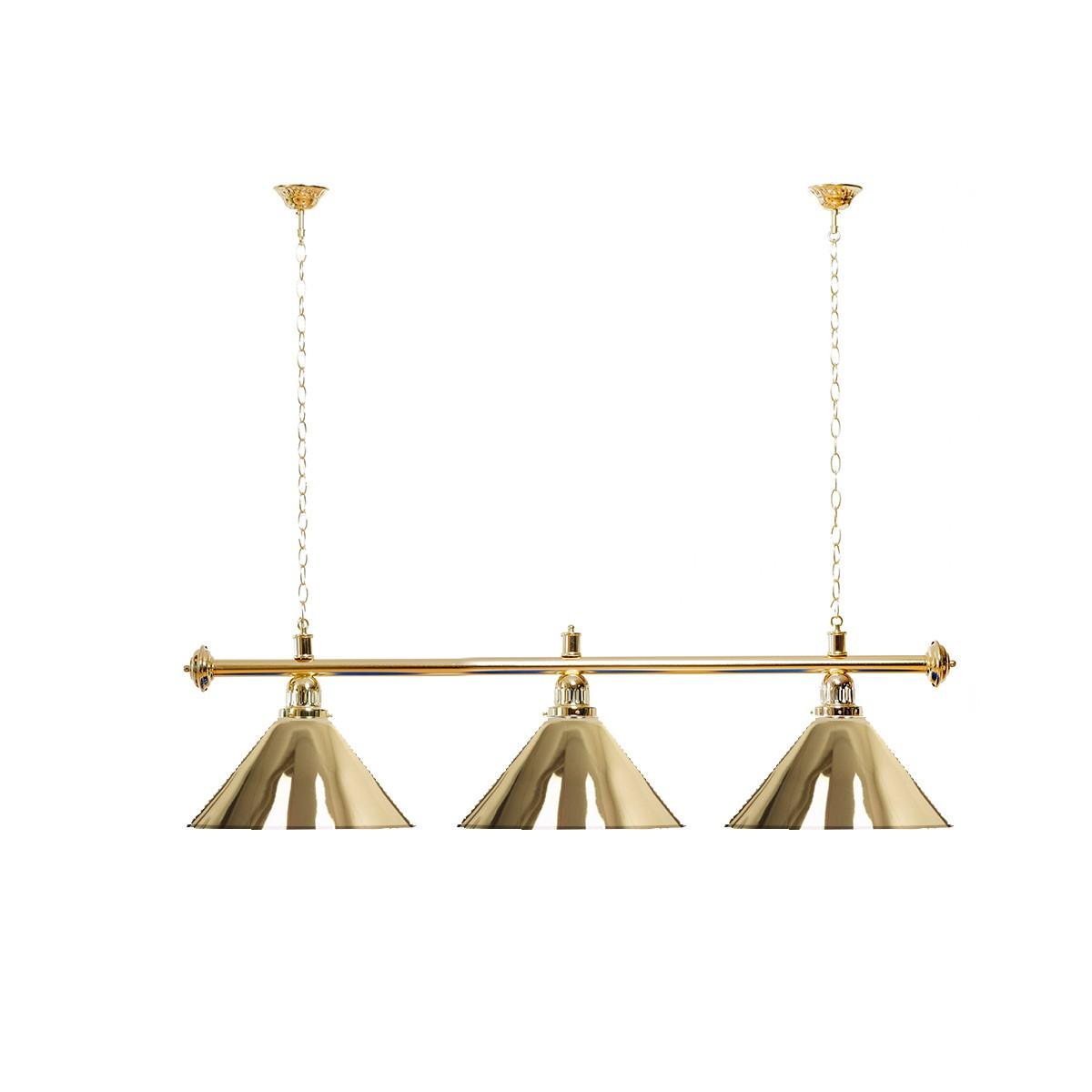 Billard Lampe 3 Schirme gold / goldfarbene Halterung