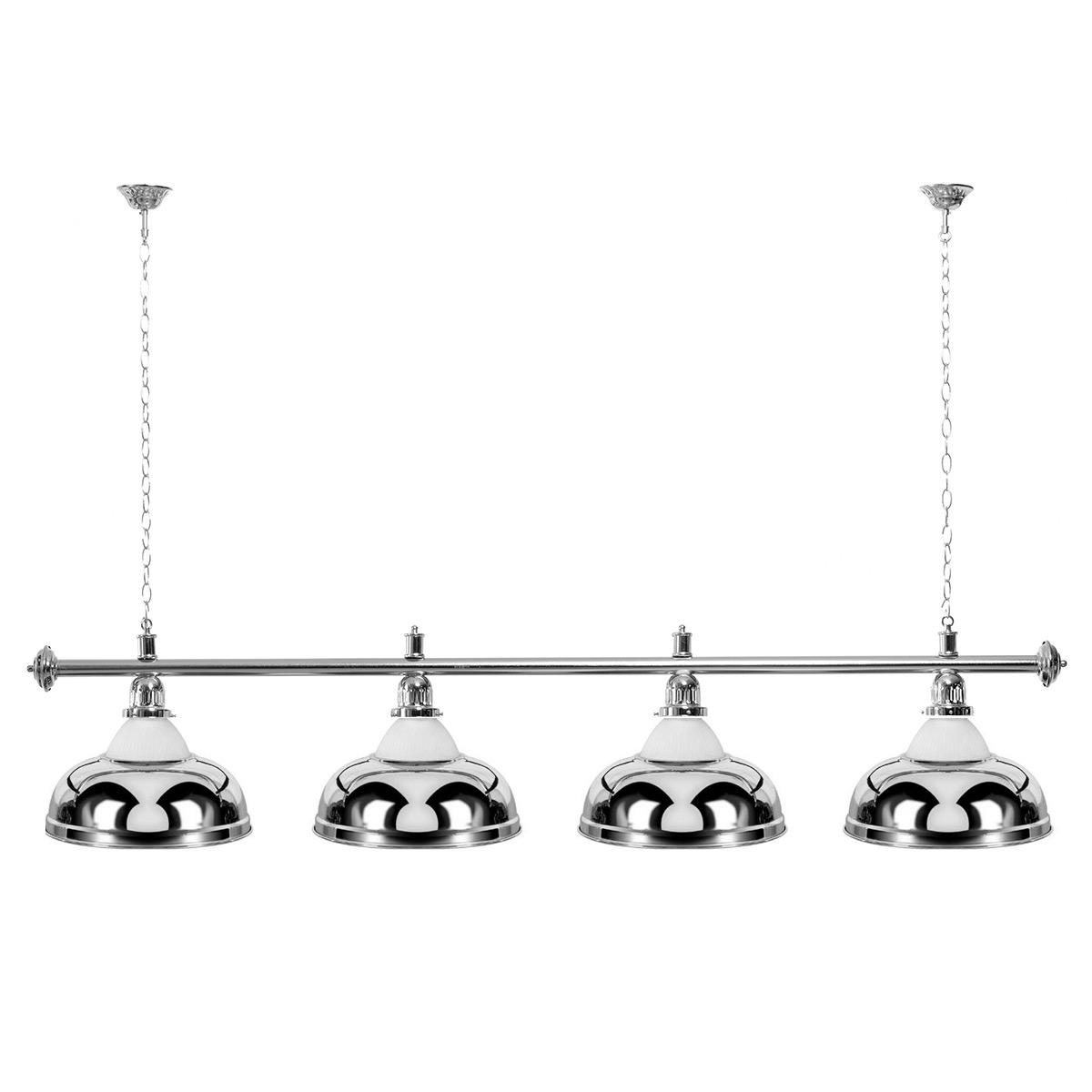Billard Lampe 4 Schirme silber mit Glas / silberfarbene Halterung